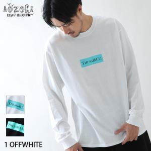 Tシャツ メンズ カットソー ロンT 長袖 クルーネック プリント ロゴ モノトーン AOZORA アオゾラ ファッション (720801) zip