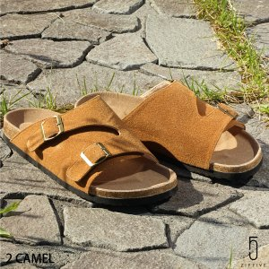 コンフォートサンダル メンズ サンダル 靴 キャメル 黒 ベージュ ブラウン コルク ファッション 送料無料 (771317-br)|zip