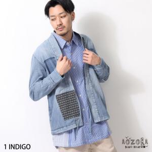 半纏 メンズ はんてん ハンテン 袢纏 羽織り デニムシャツ リメイク風 古着風 ライトオンス ライトアウター ファッション (784312)|zip