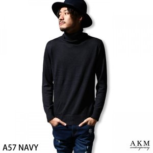 # タートルネック・ハイネック ニット メンズ ニット タートルネック 無地 AKM エイケイエム ファッション (ask-603)|zip