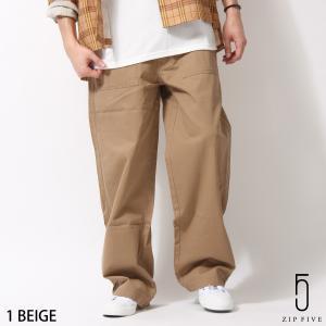 パンツ メンズ ベイカーパンツ ワークパンツ ロングパンツ バイオウォッシュ 綿ツイル 無地 ワイドシルエット ファッション (br8056) zip