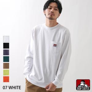 Tシャツ メンズ ロンT カットソー 長袖Tシャツ 長袖 ポケット付き ワンポイント 無地 BEN DAVIS ベンデイビス ファッション (c-9780030) zip