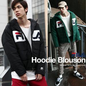 中綿入りジャケット メンズ ブルゾン アウター フード 中綿 防寒 ロゴ ジャンバー ジャンパー 刺繍 スポーティ FILA フィラ ファッション (fh7416)|zip