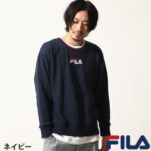 トレーナー メンズ スウェット スエット 長袖 裏毛 リブライン ロゴ ロゴ刺繍 FILA フィラ ファッション (fh7418)|zip