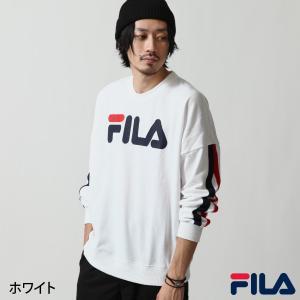 トレーナー メンズ スウェット スエット クルーネック 裏毛 ロゴ プリント 袖ライン ビッグシルエット FILA フィラ ファッション ポイント消化 (fh7426)|zip