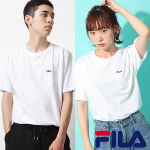 Tシャツ メンズ カットソー 半袖 クルーネック ロゴ刺繍 ワンポイント ポケット付き FILA フィラ ファッション ポイント消化 (fh7491)|zip