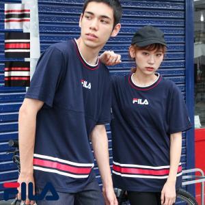 Tシャツ メンズ カットソー 半袖 クルーネック ロゴ ワンポイント ライン柄 スポーティ パイピング FILA フィラ ファッション (fh7515)|zip