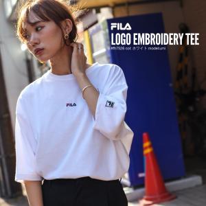 Tシャツ メンズ カットソー 半袖 クルーネック ワンポイント ビッグシルエット ロゴ刺繍 別注 FILA フィラ ファッション (fh7526)|zip