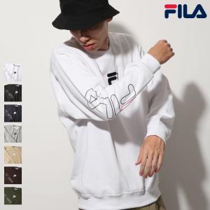 トレーナー メンズ スウェット クルーネック 長袖 裏起毛 袖プリント ワンポイント ロゴ FILA フィラ ファッション (fh7574)|zip