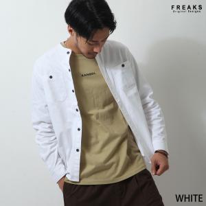 デニムシャツ メンズ カジュアルシャツ シャツ 長袖 ノーカラー デニム インディゴ 無地 ファッション (fk316131)|zip