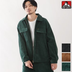 ジャケット メンズ ワークジャケット ライトアウター コーデュロイ 無地 ブルゾン ワーク BEN DAVIS ベンデイビス ファッション (g-9780010) zip