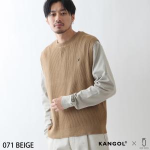 予約商品 ニットベスト メンズ ベスト チョッキ ニット リブ編み ワンポイント 刺繍 コットン 綿 コットンニット KANGOL カンゴール ファッション (kgaf-0010) D|zip