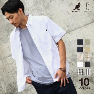 ボタンダウンシャツ メンズ 半袖 カジュアルシャツ KANGOL コットン 綿 刺繍 ワンポイント 無地 チェック ストライプ ファッション (kgsa-zi1913) D #|zip