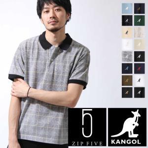 ポロシャツ メンズ 半袖 ゴルフウェア 無地 刺繍 チェック グレンチェック ロゴ ワンポイント 鹿の子 KANGOL カンゴール ファッション (kgsa-zi1915)|zip