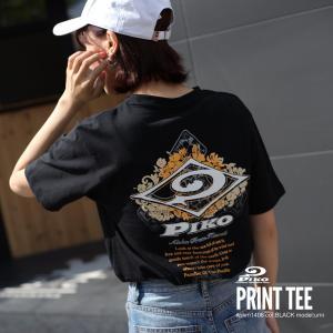 Tシャツ メンズ カットソー 半袖 クルーネック プリント ロゴ バックプリント PIKO ピコ ファッション ポイント消化 (pkm1406)|zip