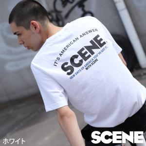 Tシャツ メンズ Tシャツ 半袖 クルーネック ロゴ ロゴ刺繍 バックプリント プリント SCENE シーン ファッション ポイント消化 (sn9002)|zip
