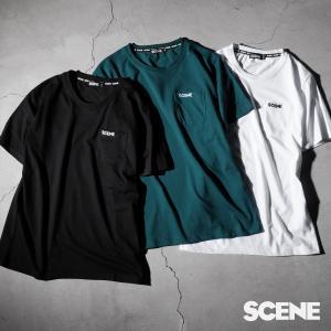 Tシャツ メンズ カットソー 半袖 クルーネック ロゴ ワンポイント ロゴ刺繍 ポケット付き SCENE シーン ファッション ポイント消化 (sn9003)|zip