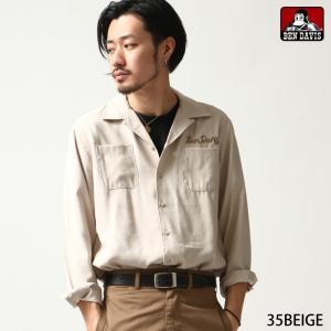 シャツ メンズ カジュアルシャツ オープンカラー 開襟シャツ 刺繍 ロゴ 長袖 BEN DAVIS ベンデイビス ファッション (t-8380022)|zip