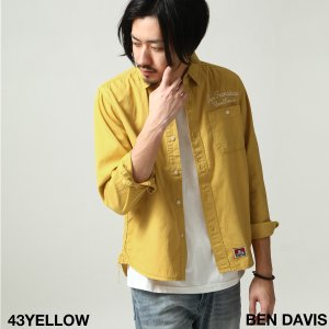 シャツ メンズ カジュアルシャツ ワークシャツ 刺繍 ロゴ レギュラーカラー 無地 長袖 BEN DAVIS ベンデイビス ファッション (t-8380026)|zip