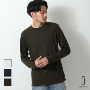 Tシャツ メンズ 長袖Tシャツ Tee ロンT カットソー 長袖 クルーネック ポケット付き ミラノリブ ストレッチ 無地 ファッション (zp319206)|zip