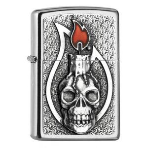 ヨーロッパ直輸入Zippo ジッポ ジッポーライター Candle Skull Emblem 2005165|zippo-flamingo