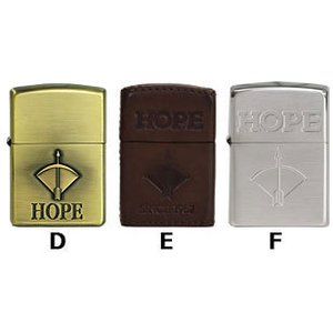 タバコ柄「HOPE」 人気のあるタバコ柄ジッポー。   D.革巻 ヌメ色 2007年製 1941型 ...