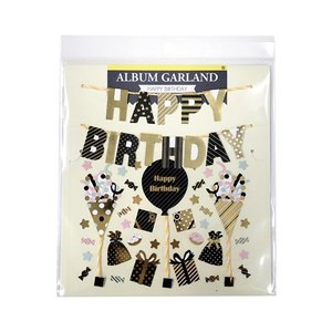 ALBUM GARLAND アルバムガーランド ゴールドバースデー 贈り物 プレゼント ギフト  スクラップブッキング ペーパー ミニアルバム 材料 [M便 5/25]|zonart-kamika