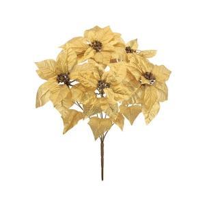 (クリスマス 店舗 装飾 ディスプレイ 造花)メタリックポインセチアブッシュx5(AB45)