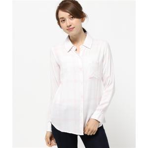 ★【手洗い可】Rails(レイルズ) ホワイトローズチェック長袖シャツ