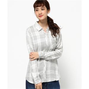 ★【手洗い可】Rails(レイルズ) スモークホワイトチェック長袖シャツ