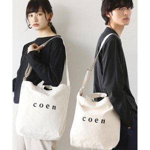 トートバッグ バッグ 【WEB限定カラー:シルバー】coen2WAYロゴトートバッグ