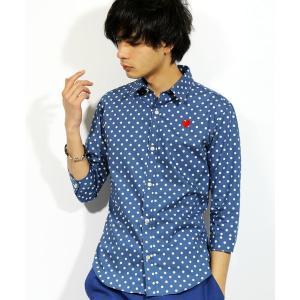 シャツ ブラウス ハート 刺繍 ドット 7分袖シャツ 日本製