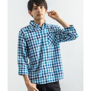 シャツ ブラウス 7分袖ポプリンシャツ ブロードシャツ 無地 チェックシャツ