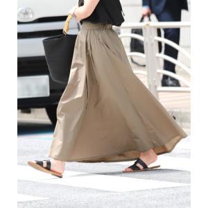 スカート ウエストツータック入りフレアロングスカート