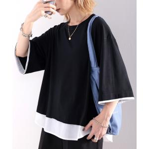 tシャツ Tシャツ レイヤード風 ミドル丈・無地クルーネックTシャツ(半袖)