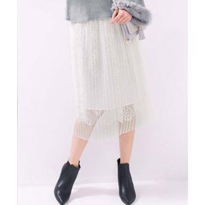 スカート 【fifth×RyuRyu】レース透かしチュールプリーツスカート