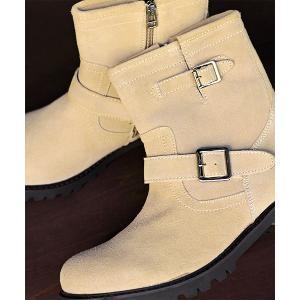 ブーツ 牛革使用!ファスナー付きで簡単に履ける!履いた時のシルエットがきれいなエンジニアブーツ/52...