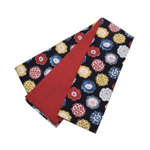 木綿半幅帯単品「編み物風のお花」