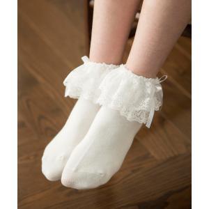 靴下 サテンリボン&2段フリルソックス