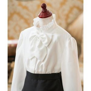 シャツ ブラウス リボン付き フォーマル長袖白ブラウス