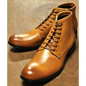 ブーツ [日本製本革]履いた時のシルエットがきれいなプレーントゥレースアップブーツ/ 10599