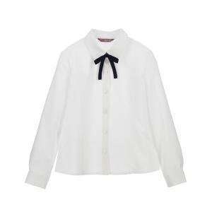 シャツ ブラウス リボン付き フォーマル長袖白ブラウス 丸襟