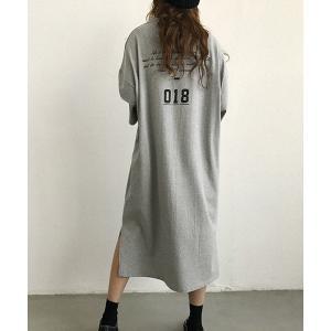 ワンピース NANING9(ナンニング)バックプリントTシャツワンピース