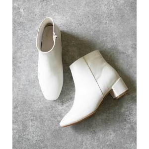 ブーツ ベーシックデザイン スクエアトゥ サイドジップ  ショートブーツ