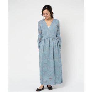 ドレス カシュクール風スリーブレースワンピース