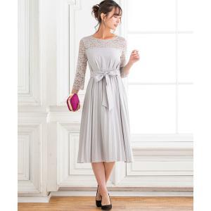 ドレス レース切替ベルト付きプリーツドレス