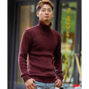 コットンリブ編みタートルネックセーター