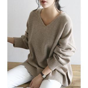 ニット NANING9(ナンニング)ゆるフィットVネックセーター