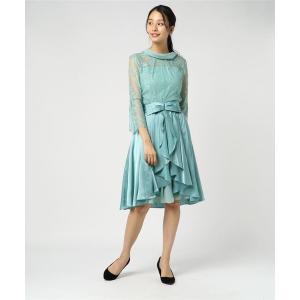 ドレス オーバースカート付き ボトルネックフレアワンピース