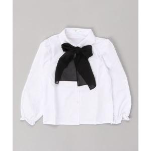 シャツ ブラウス シフォンリボン付き フォーマル長袖白ブラウス
